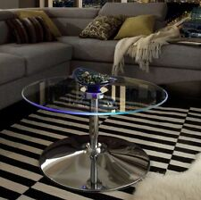 Glass Coffee Table Round Modern Light Up LED Home Living Room Cocktail Blue NEW