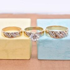 His And Her Matching Engagement Wedding Trio Ring Set 14K Yellow Gold Finish