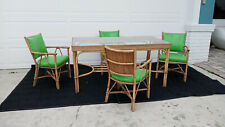 Vintage 50's Rattan Pencil Reed Bamboo Dining Patio Set Glass Top
