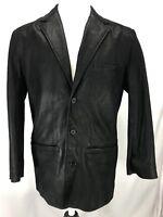 The Territory Ahead Black Leather 3 Button Blazer Jacket Men's Sz Medium