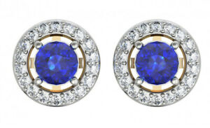 0.85ct Natural Round Diamond 14K Solid Yellow Gold Sapphire Stud Earring