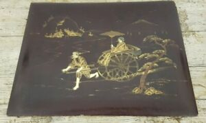 Antique Japanese Lacquered Wood Oriental Scene Wall Art Plaque