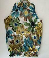 IZ Byer Women's Sleeveless Mock Neck Halter Blouse Sunflowers Size Small