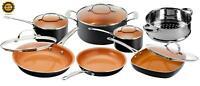 Pots & Pans Set Nonstick Cookware Strainer w/ Lids Copper Dishwasher Safe 12 Pcs