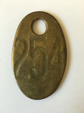 Vintage Brass COW TAG # 254 Double sided