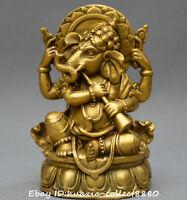 Chinese Tibet Buddhism old bronze gild Ganesha Elephant god Mammon Buddha Statue