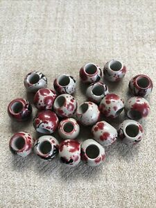 Beautful Large Holed Beads In Red, Grey And Black Design X 20
