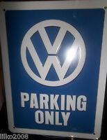 VW VOLKSWAGEN PARKING ONLY, 20X15cm  LICENCED, EMBOSSED METAL WALL SIGN /BEETLE