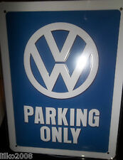 VW VOLKSWAGEN PARKING ONLY, 20X15cm  LICENCED, EMBOSSED METAL WALL SIGN /BEETLE