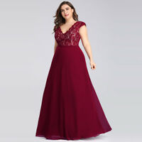 Ever-Pretty Plus Size Ball Gowns Dress Long Lace Party Cap Sleeve Dress Burgundy