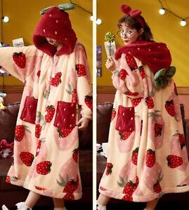 Japanese Lolita sweet strawberry bathrobe women hooded Warm pajamas Nightwear