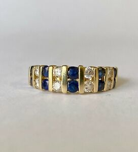 Effy BH 14Ky Gold Sapphire and Diamond Set Half Eternity Band Ring Size 5.75