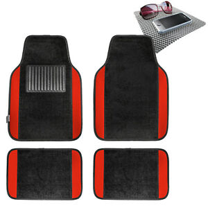 4pcs Carpet Floor Mat for Auto Car Van SUV Full Set Red w/ Gray Dash Mat