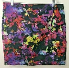 Vince Camuto Marbled Galaxy Print Faux Wrap Skirt  Womens 14 Multicolor Stretch