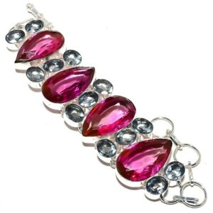 Pink Rubellite Tourmaline, Aqua Apatite 925 Sterling SilverJewelry Bracelet