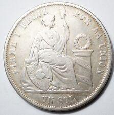 PEROU : RARE SOL ARGENT 1864/54 AVEC 1 EN CHIFFRE ARABE