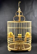 Bamboo Carved Dragon Asian Bird Cage Round Chinese Wooden Pet Nest Home