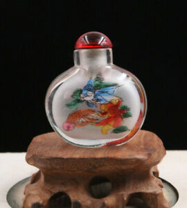 Last One China Inside Painting Happy fish  Glass Snuff Bottle 5.5x 5 cm +box
