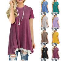 Women Short Sleeve Loose Blouse Lace Hem Ladies Summer Tunic Baggy Tops T Shirt