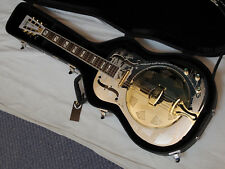 DEAN Resonator Chrome Gold Round-Neck acoustic electric GUITAR w/CASE-Brass Body