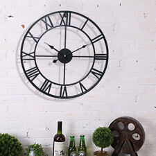 OUTDOOR GARDEN WALL CLOCK ROMAN NUMERALS LARGE OPEN FACE METAL  ROUND