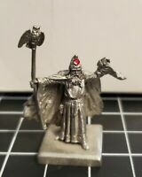 Vintage 1985 Pewter Wizard With Staff And Owl - RF3020