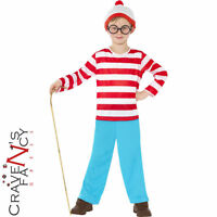 Licensed Boys Where's Wally Fancy Dress Costume Kids Child Book Week Age 4 - 12