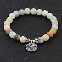 8MM Amazonite Stone OM Lotus Buddha Chakra Mala Natural Stone Bracelets Gift
