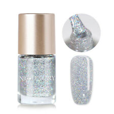 9ml NICOLE DIARY Nail Polish Holographic Silver Shimmer Nail Art Varnish Decor