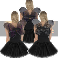 Ladies Fairy Angel Glitter Wings & Black Tutu Costume Set Halloween Fancy Dress