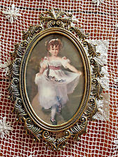 Vintage Oval Curly Feather Solid Brass Frame Girl With Flowers Italy 5.75 x 8.25