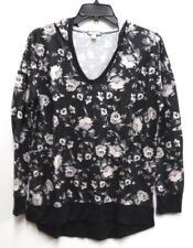 Eyeshadow Jr Womens Size Medium Black Floral V-Neck Tunic Top with Hood New