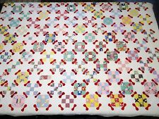 "Vtg Antique Hand Stitched Cotton Quilt 86"" x 70"" Nine Patch Modified Bow Tie"