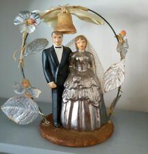 Vintage 1950s Silver Anniversary Wedding  Cake Topper Couple Lace Ceramic