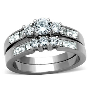 Three Stone Type Round Cut CZ Womens Stainless Steel Wedding Bridal 2 Ring Set