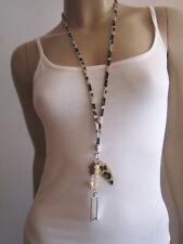 Damen Hals Kette Modekette lang Leder Charms Quarz Perle Hippie Ethno Ibiza Boho