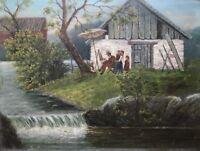 Ölgemälde Freiluft Maler mit Frau und Kindern am Ufer eines Flusses 40,5 x 30,5