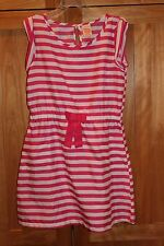 Girl HOT PINK AND WHITE HORIZONTAL STRIPES LIGHTWEIGHT DRESS EUC 7 8