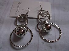 BRAND NEW>SILVER>PLATED>CRINCKLED>PATTERN>FOUR>HOOP>AND>BALL>EARINGS>