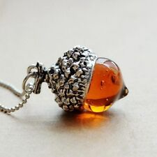 VINTAGE AMBER GLASS ACORN PENDANT SILVER NECKLACE OAK AUTUMN SEASON IN GIFT BAG