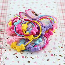 50 pcs Lot Kids Girls Assorted Elastic Rubber Hair Rope Band Ponytail Holder Be