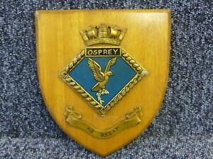 Wood Shield Plaque HMS Osprey Ship Crest