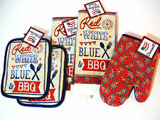 4TH OF JULY KITCHEN SET RED WHITE BLUE BBQ 2 TOWELS 2 POT HOLDERS 1 OVEN MIT
