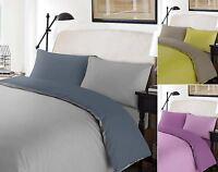 100% Cotton Percale Plain Reversible Duvet Quilt Cover Pillowcase Bedding Set