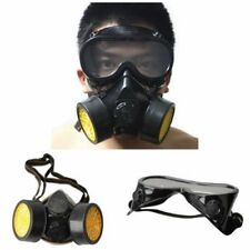 Chemical Respirator Mask Gas Spray Dust Paint Respirator Mask Goggles Black New