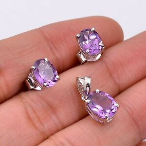 Natural Amethyst 925 Sterling Silver Women Stud Earrings & Pendant Jewelry Set