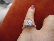 14k Solid  White Gold 1.50ct Round Cut Solitaire Engagement Ring All size