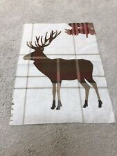 Stag deer tartan check mauve pink green crafts sewing remnant fabric 70x45cm