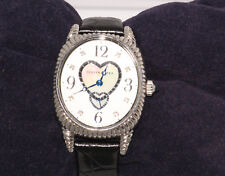 Judith Ripka Watch Leather and Stainless Steel Sapphire Stem Pre-Loved