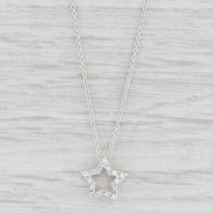 "Diamond Star Pendant Necklace 18k White Gold 15.5"" Cable Chain"